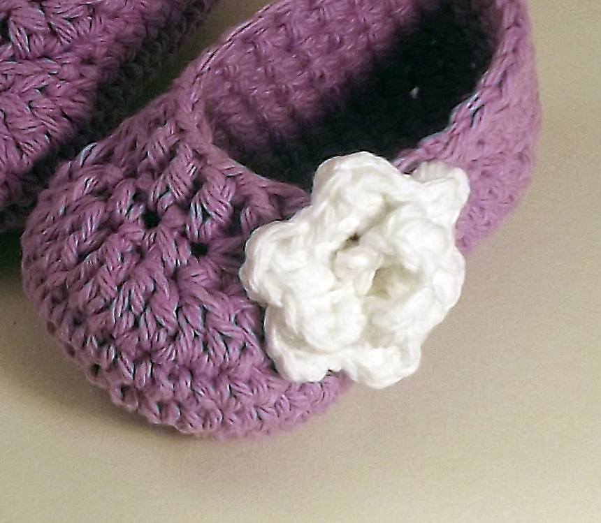 Rose Baby Booties - lavender and white