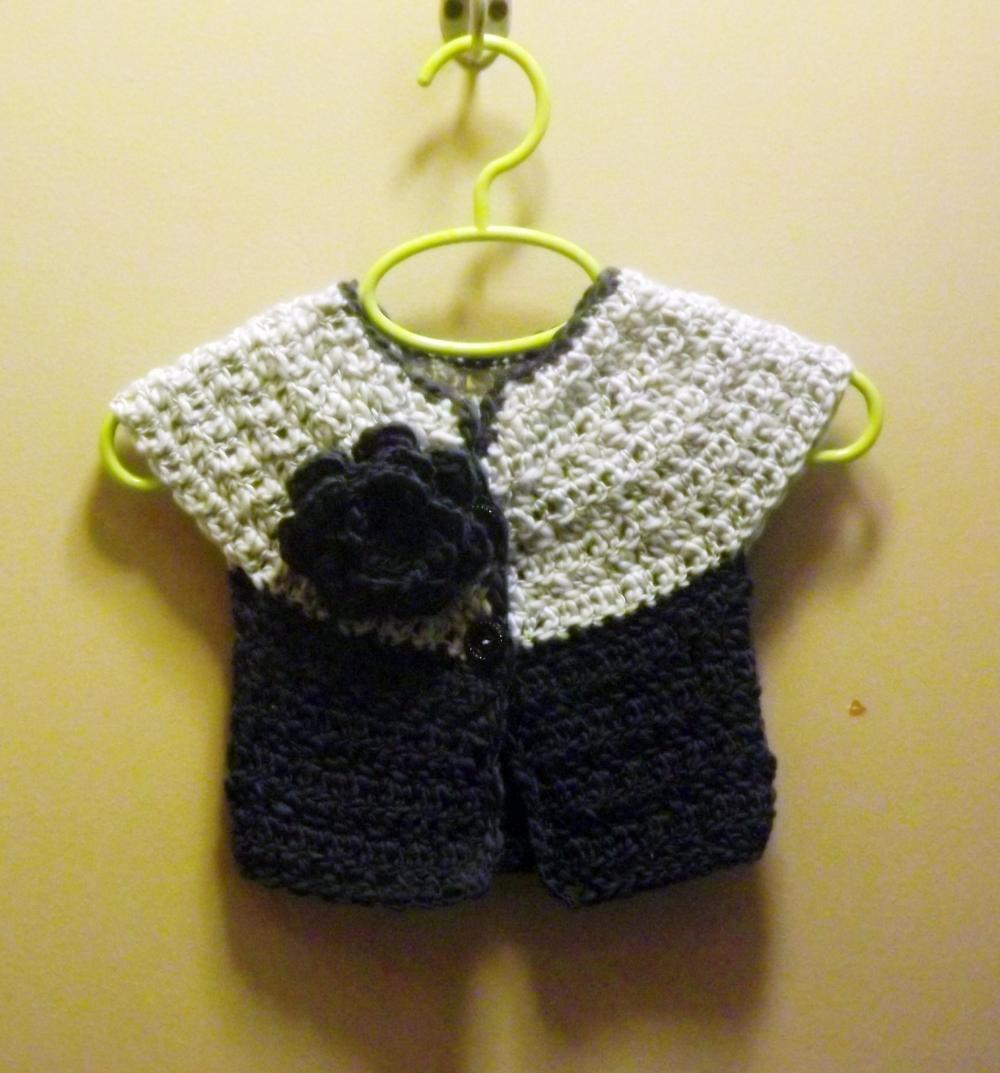 Short sleeve wool cardigan sweater navy and robins egg blue, 6 month size