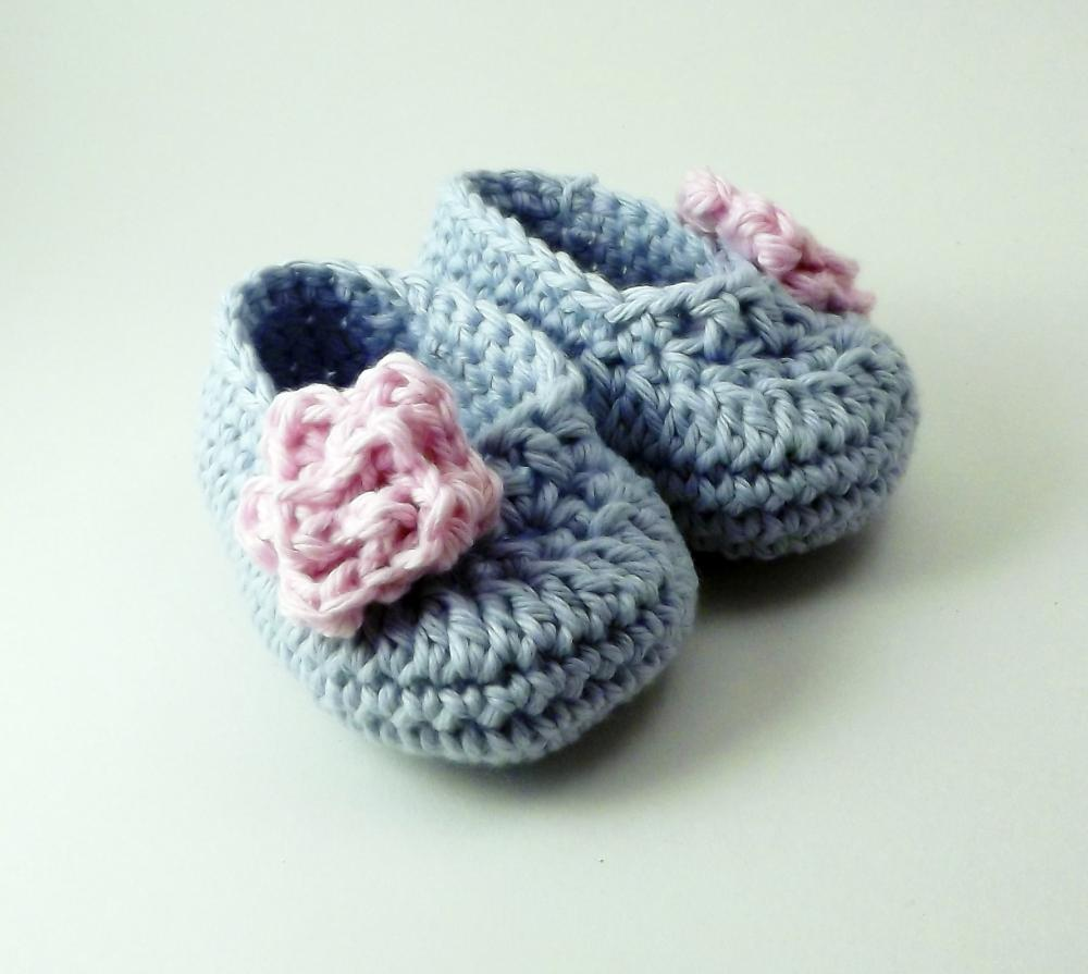 Rose baby booties - blue and pink