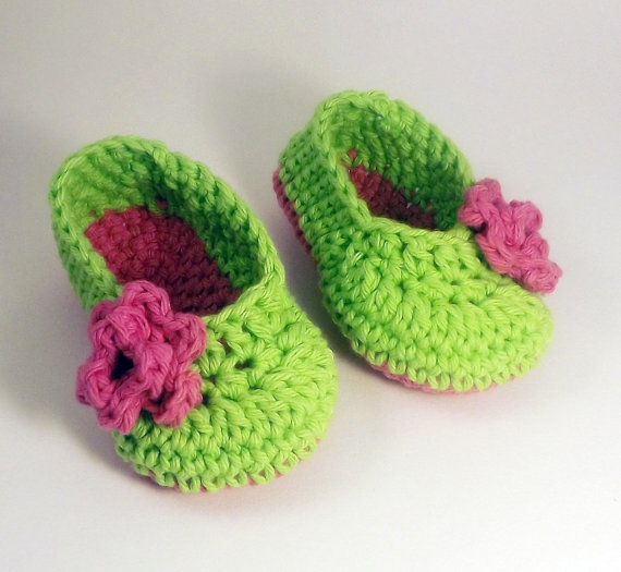 Lime Green Ballet style crochet Booties with pink rose