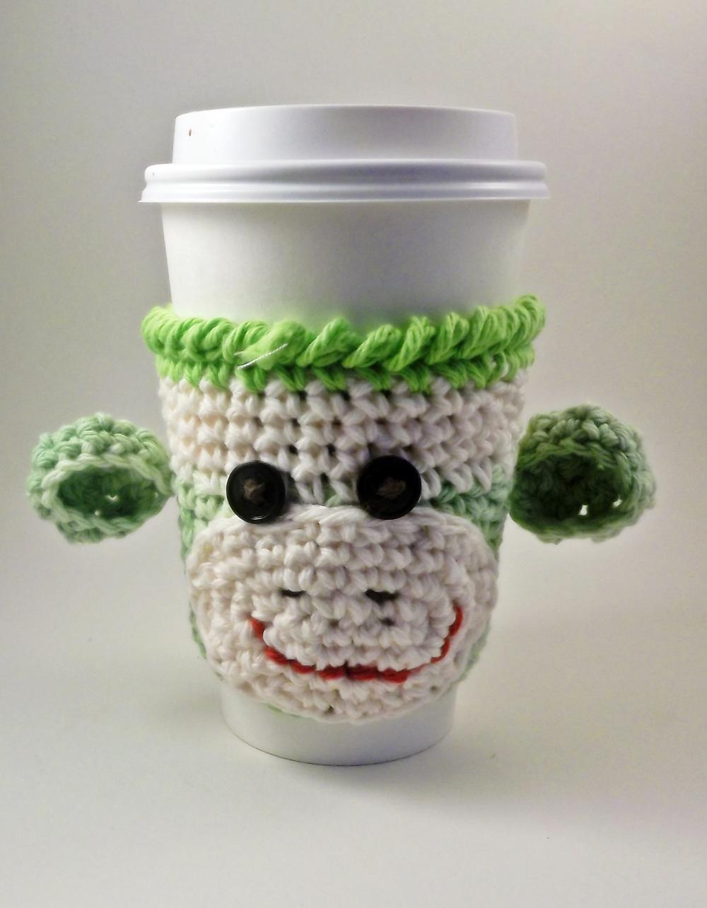Coffee cozy - sock monkey - crochet - lime green