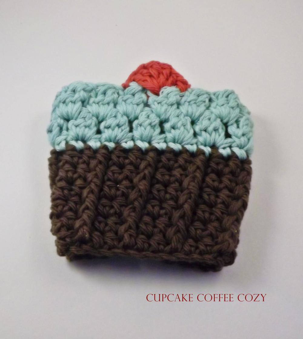 crochet coffee cozy - cupcake- chocolate, mint green frosting, cherry on top