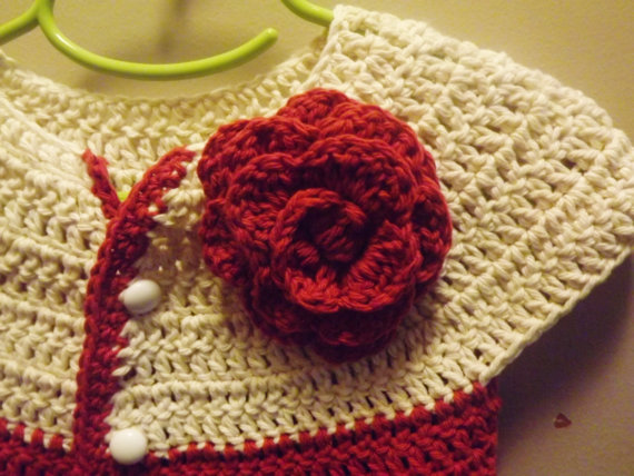 Toddler Sweater - short sleeve cardigan style - red and cream
