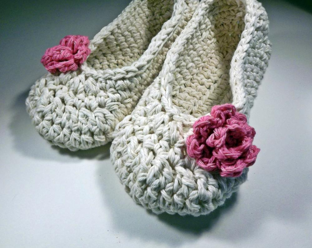 Antique Ivory Adult Slippers with pink rose - Bestseller - Ready to ship