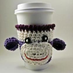 coffee cozy - sock monkey - purple
